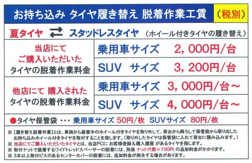 Image of the jikomi tire & wheel work wage list (used)